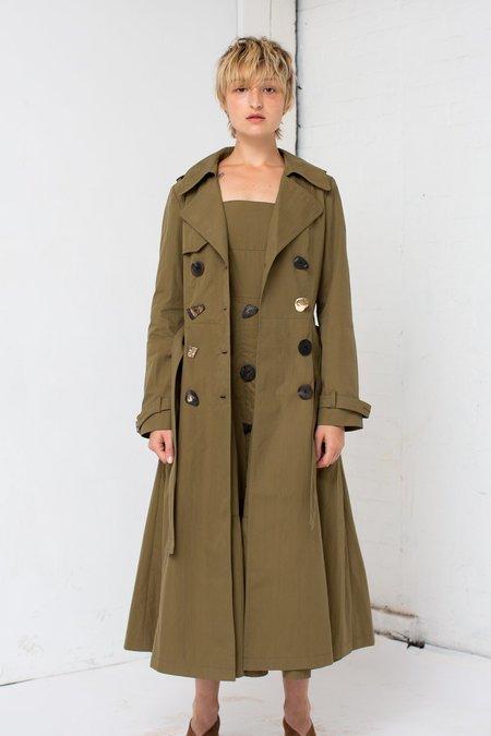 Rejina Pyo Kirsten Trench Coat in Khaki Cotton/Olive
