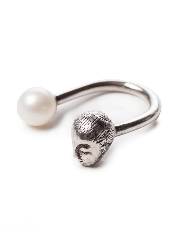 Casa Malaspina Womens Muse Ring Silver with White Pearl