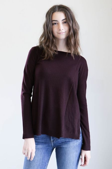 Inhabit Pointelle Sweater in Port