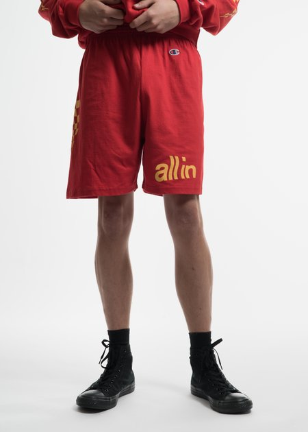 all in Red Champion Edition Wavy Logo Shorts