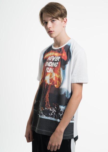 Tim Coppens White Mesh Hem Graphic T-Shirt