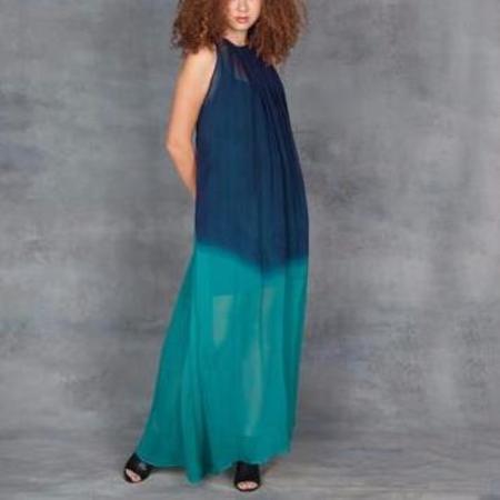 Jill Aiko Yee Awaken Dress with Slip in Teal Dip Silk