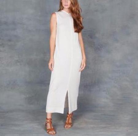 Raquel Allegra Dirty White Split Muscle Midi Dress