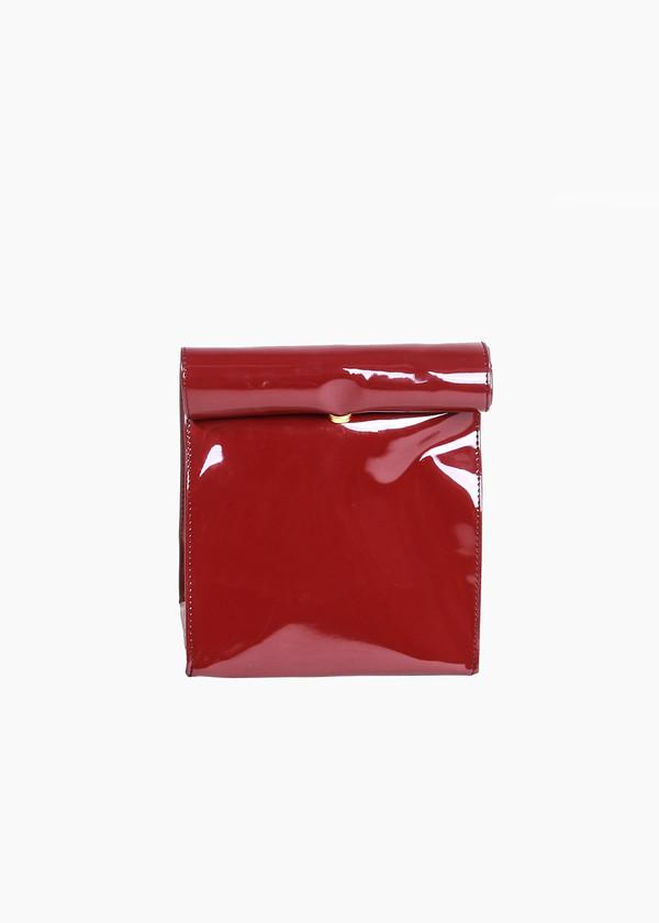 S M K Burgundy Foldover Bag