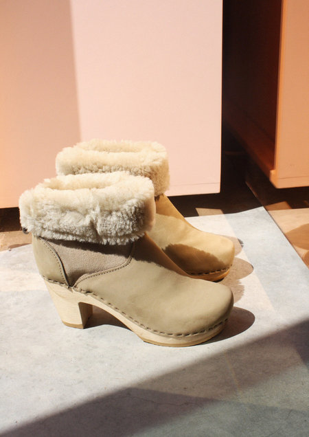 "No. 6 5"" Pull On Shearling Clog in String Suede"