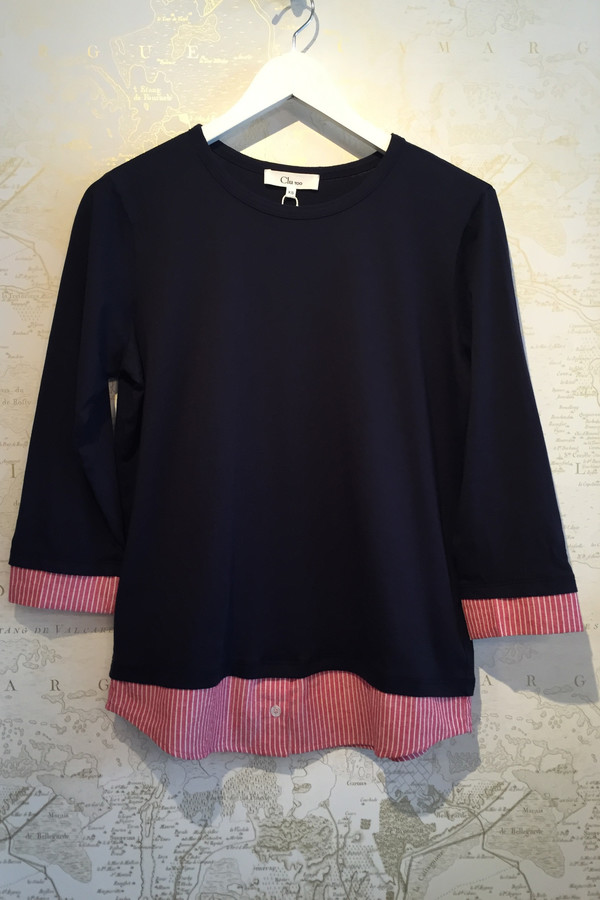 Clu Long sleeve cotton top with stripe tail