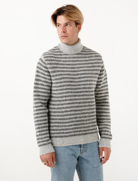 Norse Projects Mens Marius Brushed Alpaca - Light Grey Mel/Mouse
