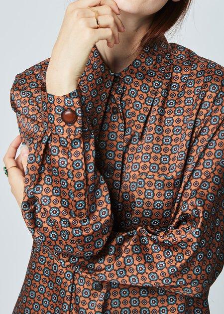 Hache Button-Up Brocade Shirtdress