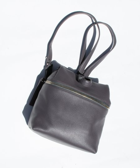 Kara Slate Grey Pebble Leather Small Backpack
