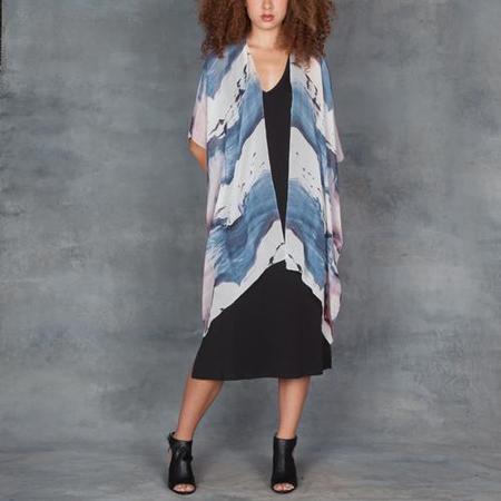 Go Silk Go Kimono White Wave Print