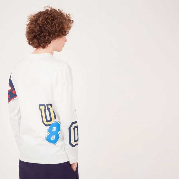 Kitsune Tee Shirt Long Sleeves All Over College - White