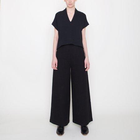 7115 by Szeki Linen Wide-Legged Trouser - Black