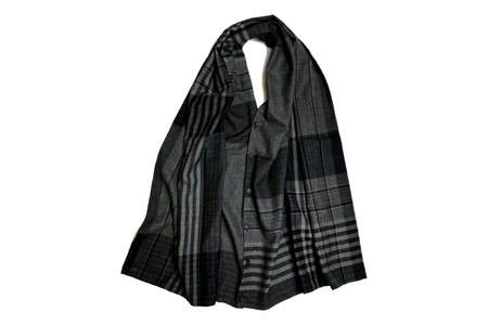 Engineered Garments Button Shawl Grey Black Worsted Wool Plaid