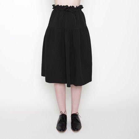 7115 by Szeki Drawstring A-Line Skirt - Black