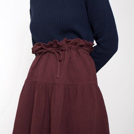 7115 by Szeki Drawstring A-Line Skirt - Maroon