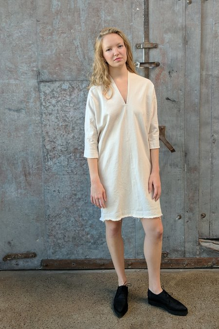 Hackwith Design House Raw Finish Cocoon Dress // Cream Denim