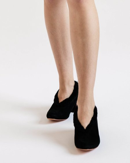 Mari Giudicelli Pina Ballerinas in Suede and Shearling - Black