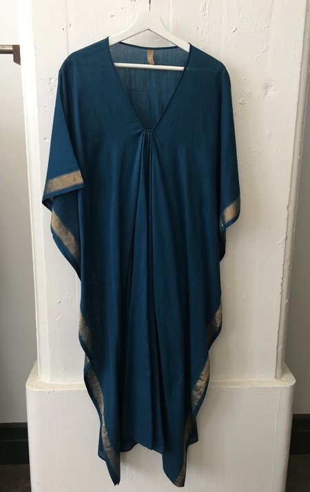 Two Long teal caftan with gold border