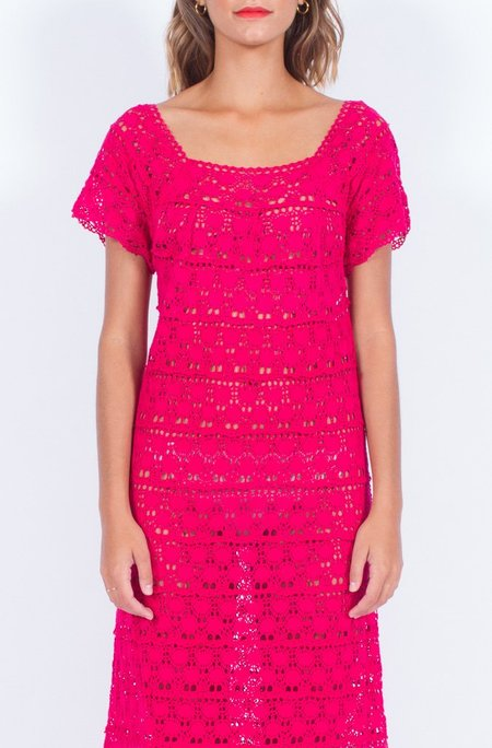 Yo Vintage! Pink Crochet Knit Dress (Small-Med)