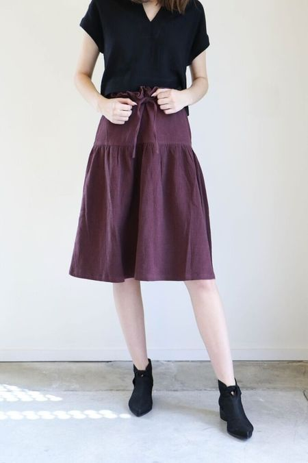 7115 By Szeki Drawstring A-Line Skirt in Maroon