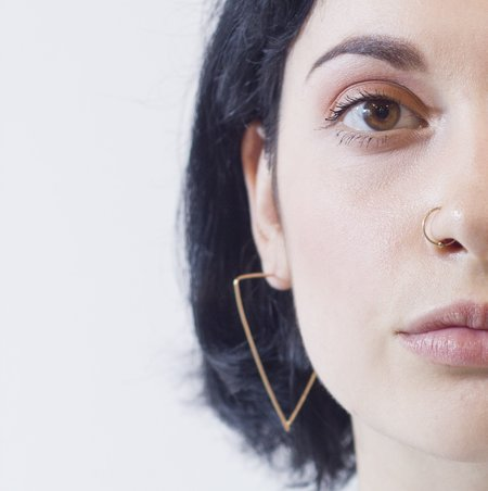 Katye Landry Triangle Hoop Earrings - Yellow Gold Fill