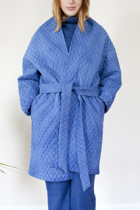 COLORANT QUILTED COCOON COAT - INDIGO