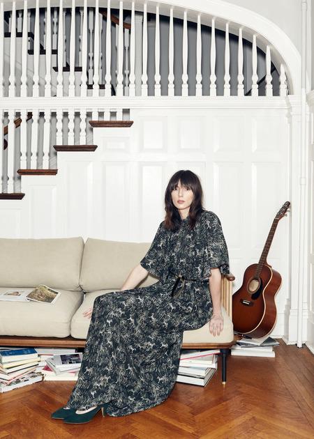 Christine Alcalay Gathered Yoke Maxi Dress in Tiger Print