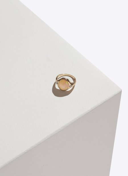 Pamela Love Essential Ring - 10k Gold with Opal & Diamonds