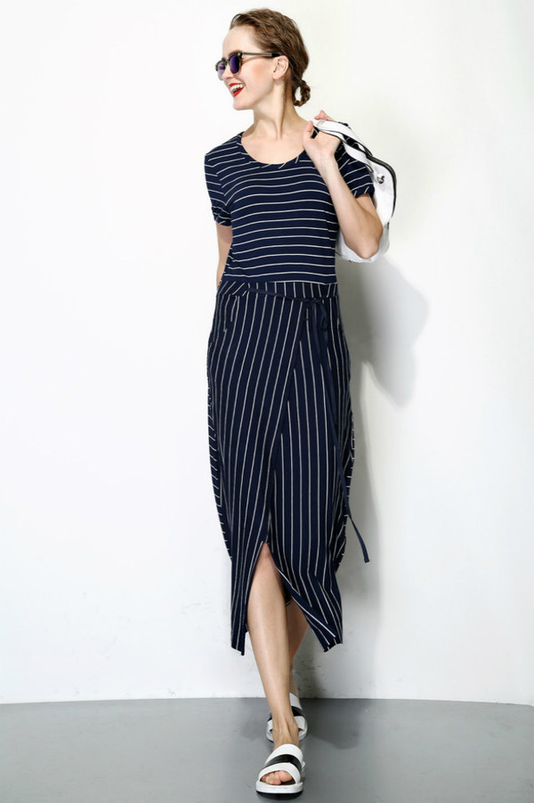 FEW MODA Front Split Stripe Dress