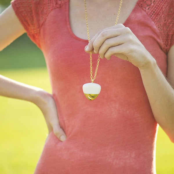 Porcelain and Stone Gold Dipped Pebble Pendant Necklace