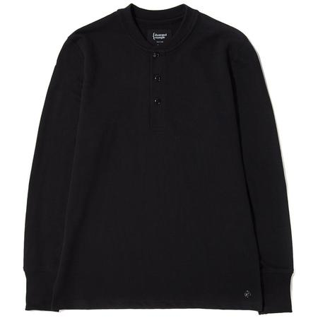 {ie LONG SLEEVE HENLEY - BLACK