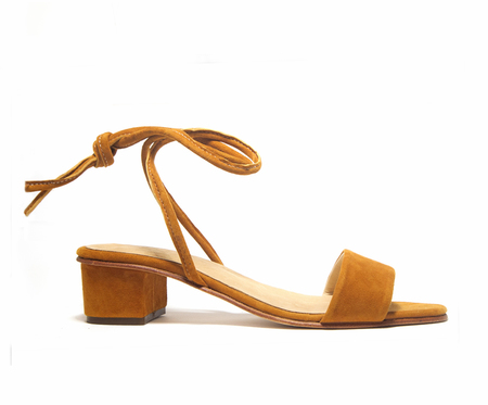 ZOU XOU Anaise Ankle Tie Sandal in Burnt Sienna Suede
