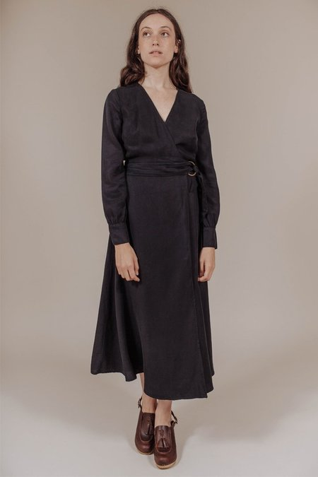 Kamperett Elle Midi Wrap Dress in Midnight