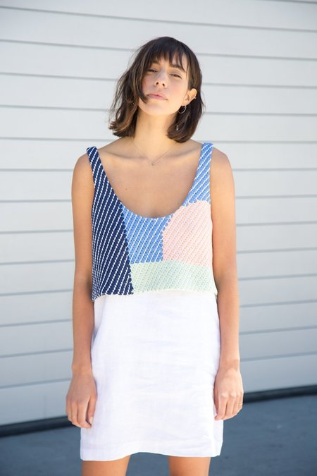 mara hoffman woven overlay mini dress
