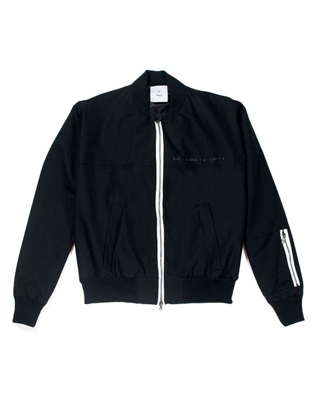 M Press Contrast Zip Embroidered Bomber