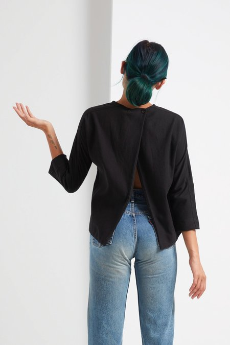 Black Crane Open Back Top - Black
