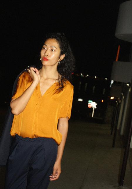 Raquel Allegra Ribbon SS Blouse in Goldenrod