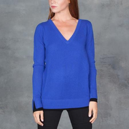 Duffy Double V-Neck Cashmere Sweater- Cobalt Blue