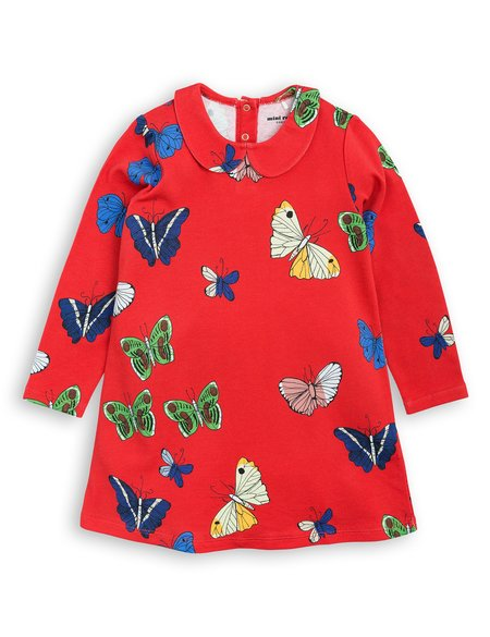 Kid's Mini Rodini Butterflies Collar Dress - Red