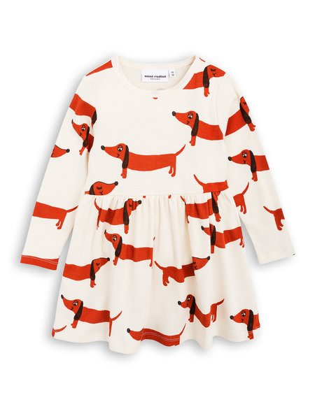 Kid's Mini Rodini Dog Dress -Off White