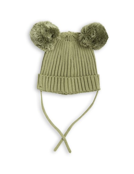 Kid's Mini Rodini Green Rib Knitted Ear Hat