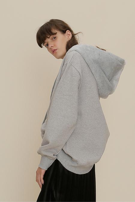 ROC. Fur Hooded Top- Grey