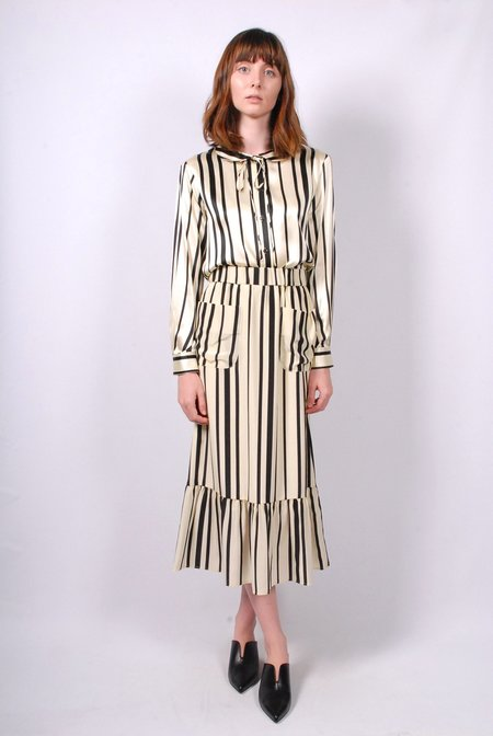 No.6 Ruffle Skirt - Cream/Black Stripe Silk