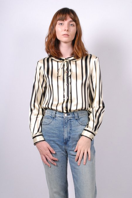 No.6 T-Bell Round Collar Top - Cream/Black Stripe Silk