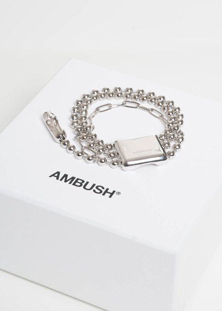Ambush Silver Triple Ball Chain Bracelet