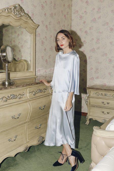 Wolcott : Takemoto Kepu Dress in Sky Silk Charmeuse