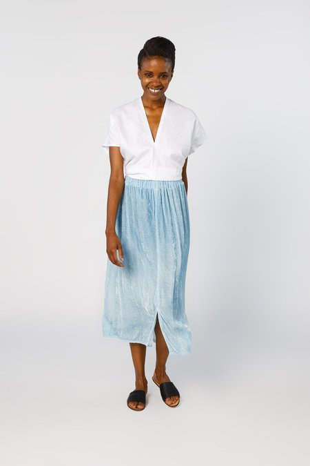 Miranda Bennett Paper Bag Skirt, Velvet in Light Indigo