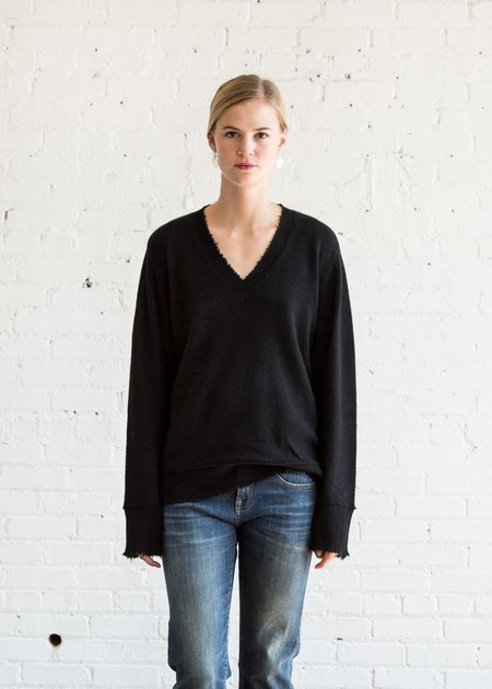 R13 Distressed Edge V Neck Sweater - Black
