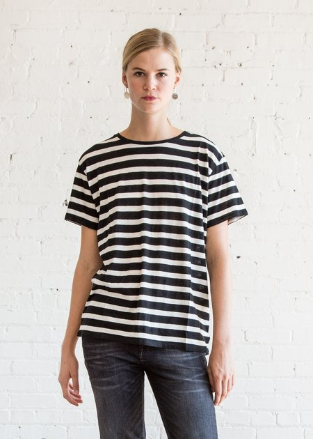 R13 Striped Boy T - Black w/ Ecru