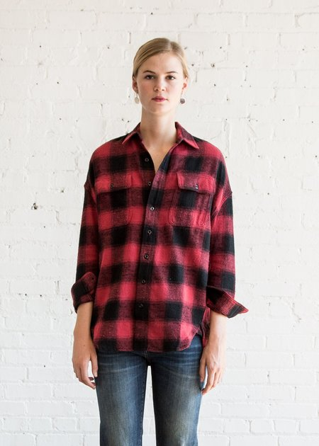 R13 X-Oversized Plaid Shirt - Black/Red Plaid